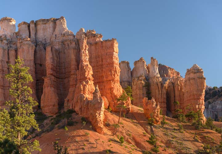 Red rock pinnacles Mossy Cave Bryce Canyon National Park Utah