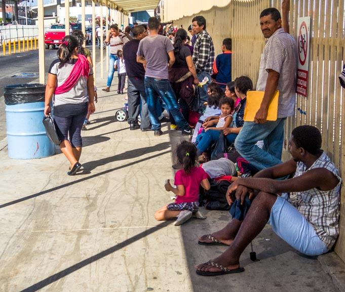 Undocumented migrants waiting to enter the United Sates from Mexico