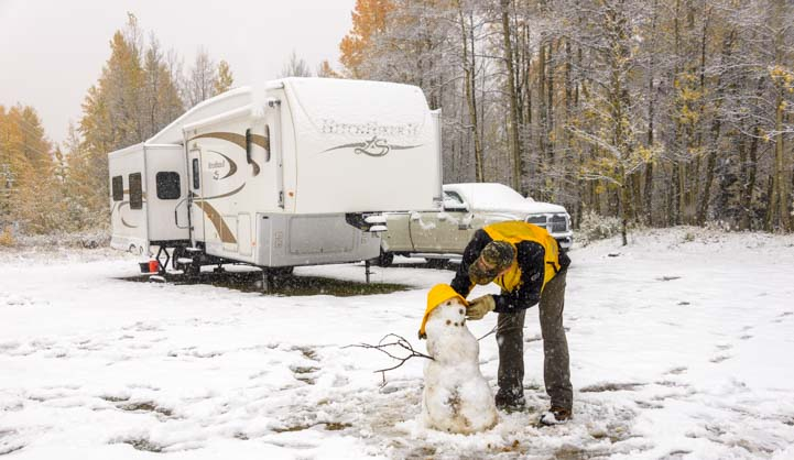 Winter RV trip in the snow