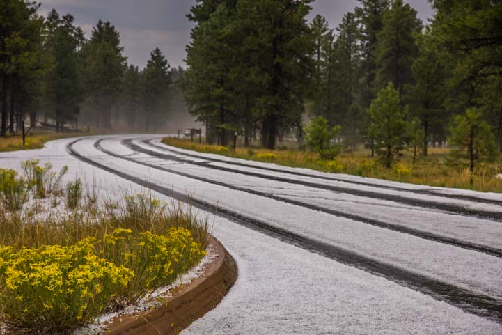Hail on roads Bryce Canyon National Park Utah
