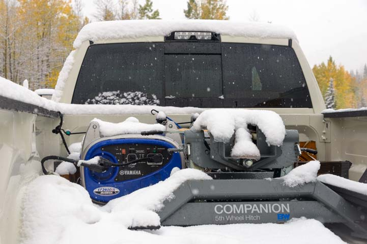 Yamaha generator in bed of pickup truck in snow