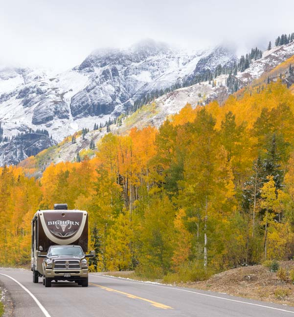 Fifth wheel trailer fall colors San Juan Skyway Colorado Rocky Mountains