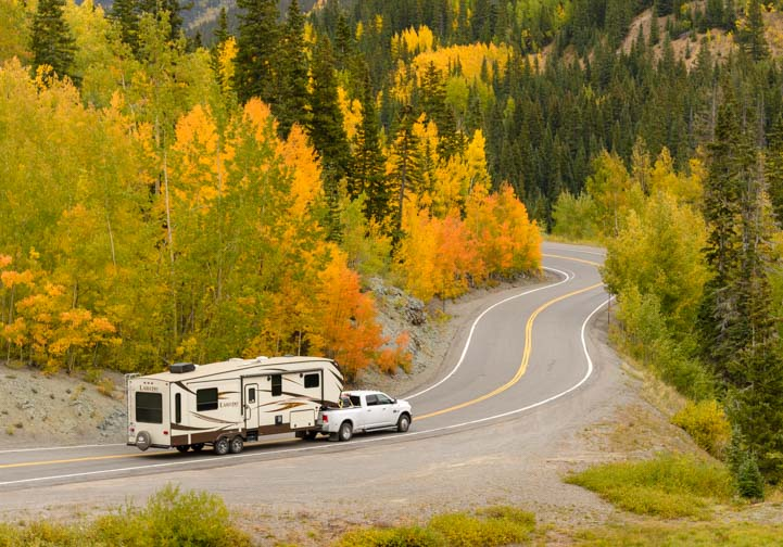 RV on San Juan Skyway Colorado Rocky Mountains Aspen trees in autumn
