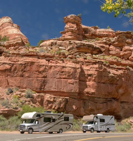 RV motorhome on Utah Scenic Byway 12