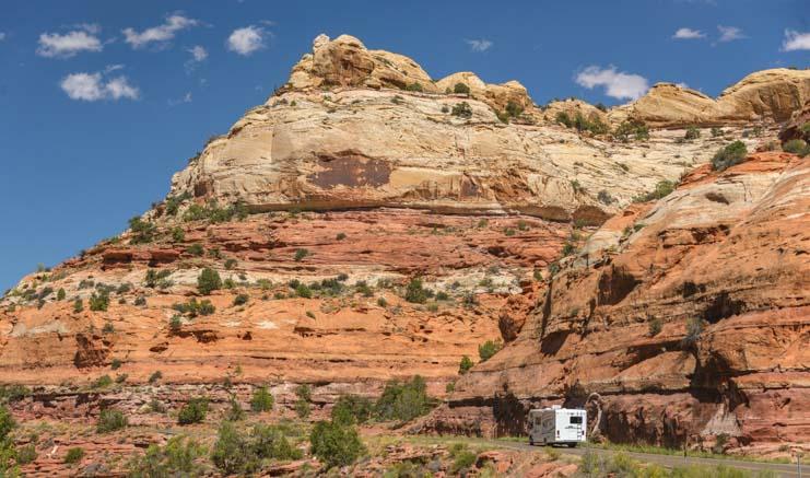 Red rocks Motorhome RV trip Utah Scenic Byway 12