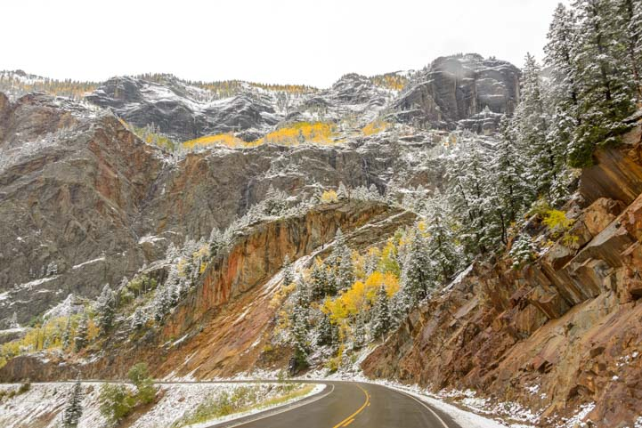 Snow on Million Dollar Highway San Juan Skyway Colorado Rocky Mountains