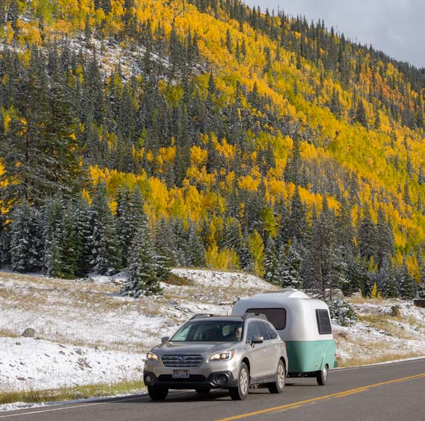 Travel trailer San Juan Skyway Colorado Rocky Mountains fall color