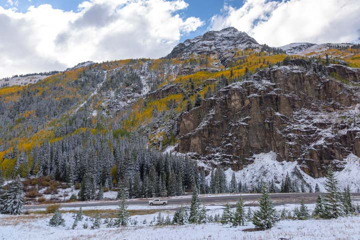 Snow and Autumn Color San Juan Skyway Rocky Mountains Colorado