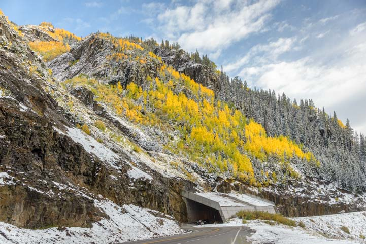 Snow and fall leaves Million Dollar Highway San Juan Skyway Colorado Rocky Mountains