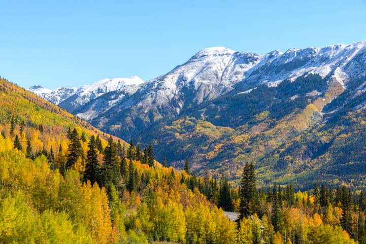 Snowcapped mountains autumn leaves San Juan Skyway Colorado Rocky Mountains
