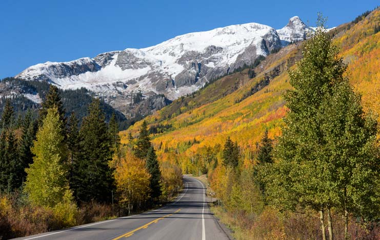 San Juan Skyway Snowcapped Mountains autumn color Rocky Mountains
