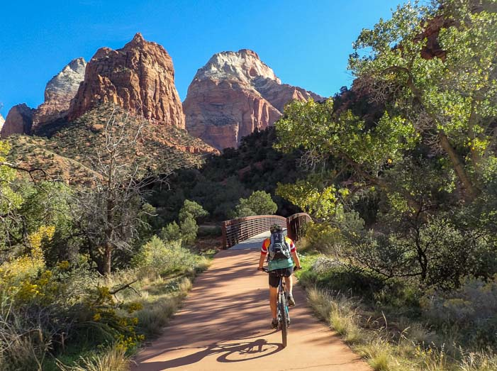Biking in Zion Canyon Zion National Park Utah