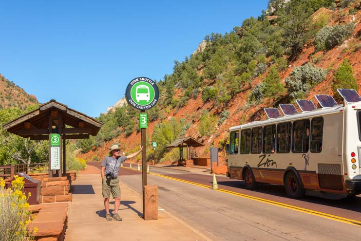 Shuttle Bus Zion Canyon Scenic Drive Zion National Park Utah