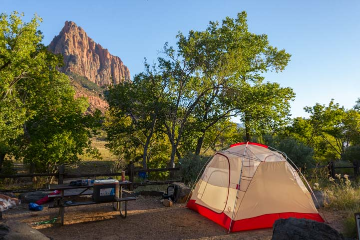 South Campground camping Zion National Park Utah