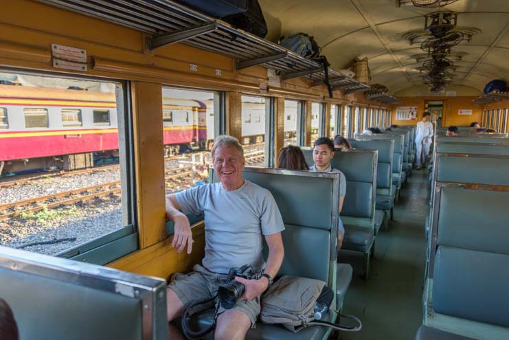 Inside Train from Bangkok to Kanchanaburi Thailand