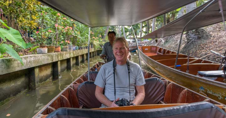 Longtail boat damnoen saduak floating market Bangkok Thailand