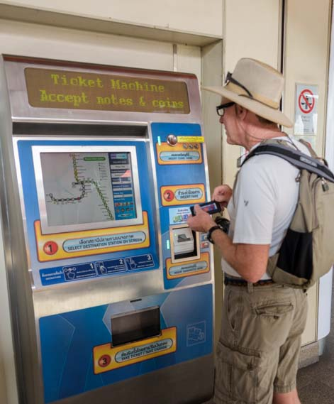 Getting train ticket in Bangkok Thailand