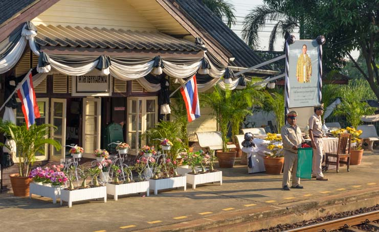 Train station Train from Bangkok to Kanchanaburi Thailand