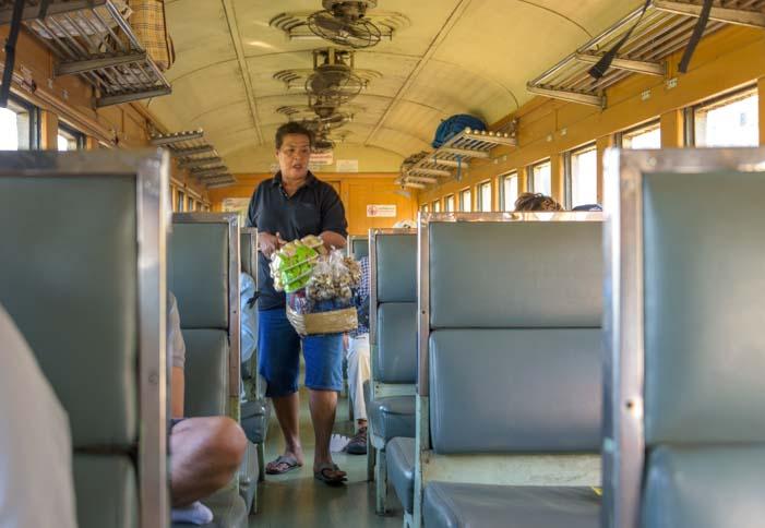 Food vendor on the Train from Bangkok to Kanchanaburi Thailand