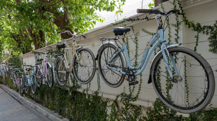 Bikes on a wall Bangkok Thailand