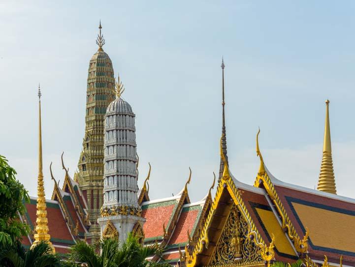 Grand Palace spires Bangkok Thailand