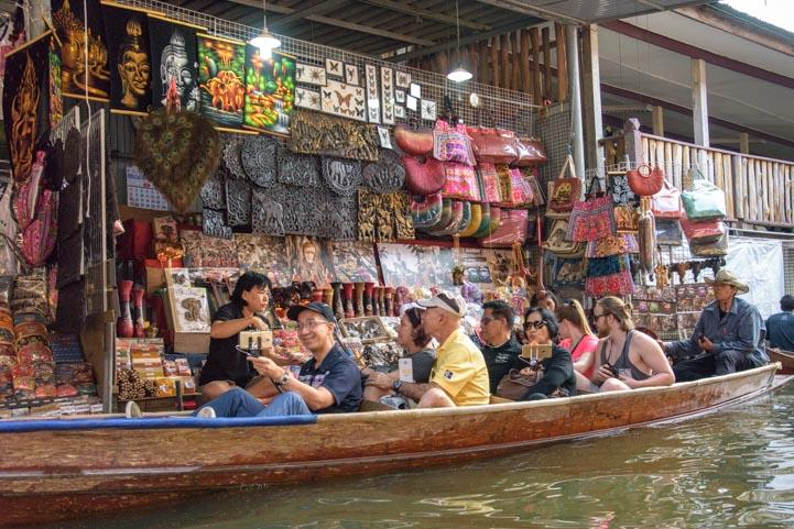 Tourist shoppers Damnoen Saduak Floating Market Bangkok Thailand
