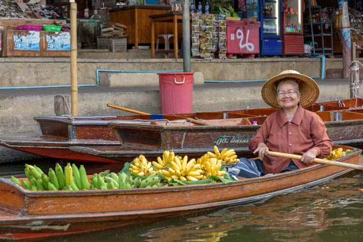 Fruit for sale damnoen saduak floating market Bangkok Thailand