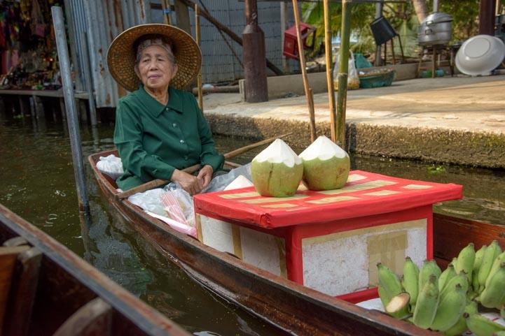 Lady Damnoen Saduak Floating Market Bangkok Thailand