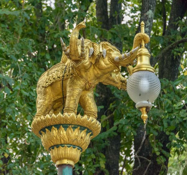 Elephant lamp post decoration Kanchanaburi Thailand