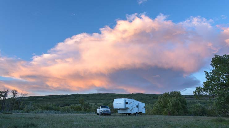 Sunset boondocking or wild camping in an RV