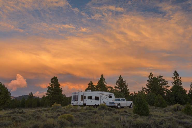 RV campsite wild camping or boondocking at sunset