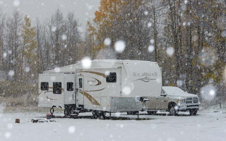 Boondocking or wild camping in an RV in snow