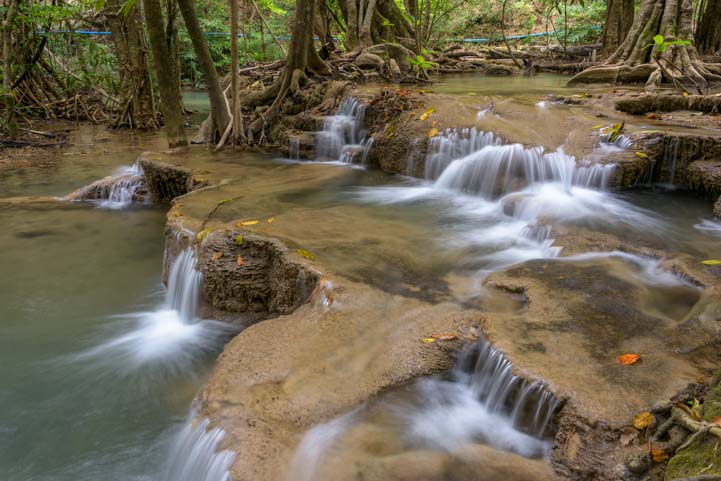 Huay Mae khamin Waterfall Sri Nakarin Dam National Park Kanchanaburi Thailand