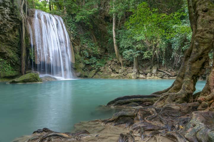 Stunning Erawan waterfall Kanchanaburi Thailand