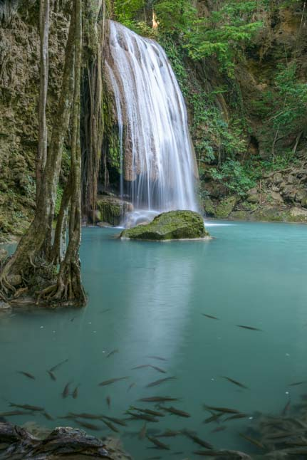 Most beautiful waterfall Erawan Falls Kanchanaburi Thailand