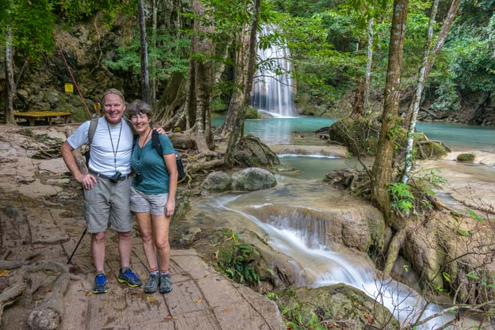Travelers at Erawan National Park Kanchanaburi Thailand
