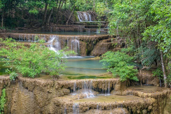 Turquoise pools Huay Maekhamin Waterfall Khuean Srinagarindra National Park Kanchanaburi Thailand