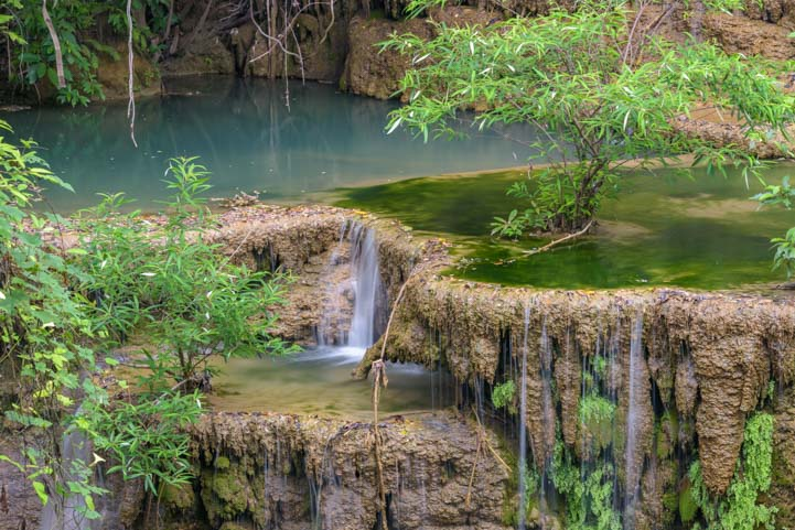 Green pools Huay Mae Khamin Waterfall Sri Nakarin Dam National Park Kanchanaburi Thailand