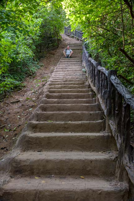 Stairs to waterfall Erawan National Park Kanchanaburi Thailand_