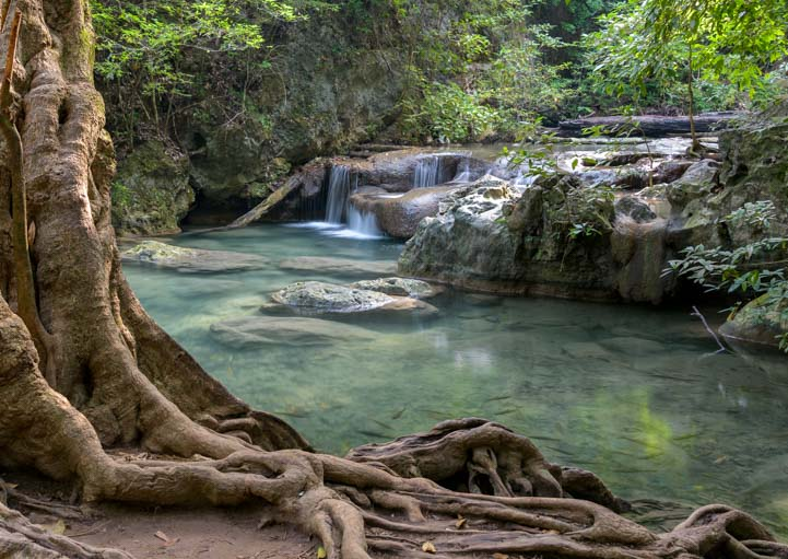 Swimming pools Erawan Falls Erawan National Park Kanchanaburi Thailand