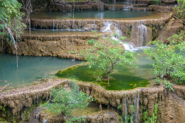Most Beautiful waterfall in Thailand Huay Mae khamin Waterfall Khuean Srinagarindra National Park Kanchanaburi