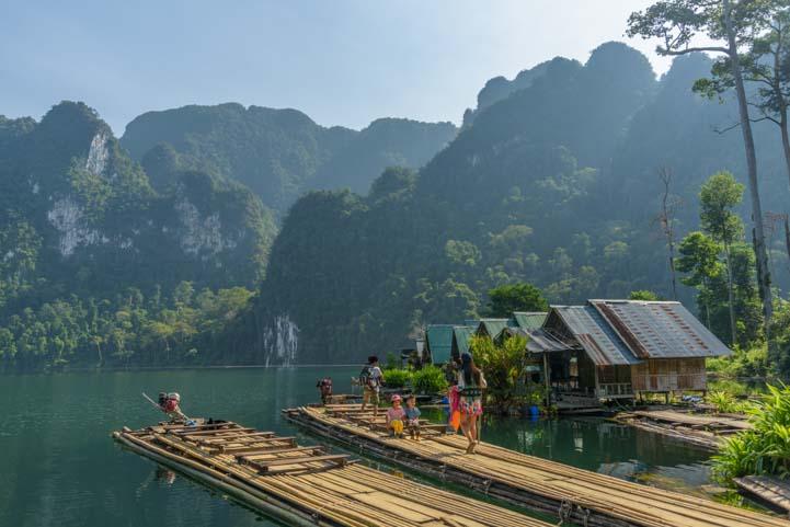 Bamboo raft tour Coral Cave Pakarang Cave Khao Sok National Park Thailand