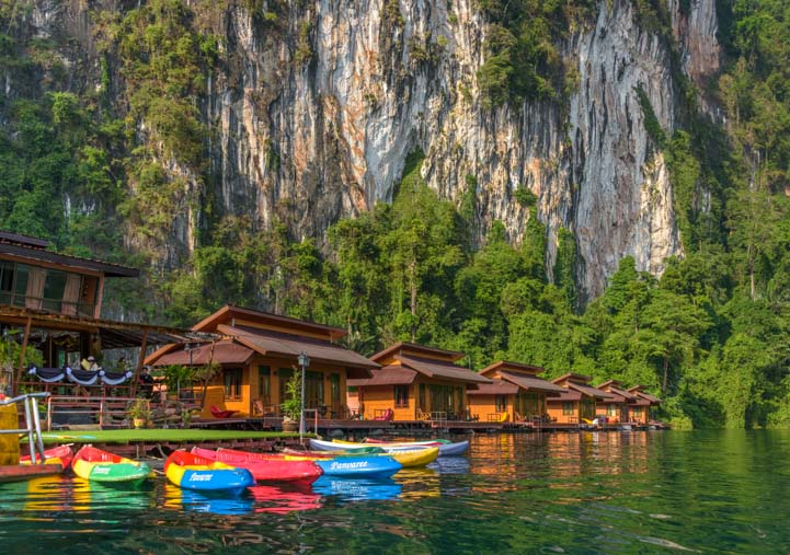 Greenery Panvaree Floating Raft House Cheow Lan Lake Chiewlarn Lake Thailand