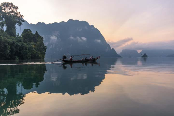 Longtail boat Cheow Lan Lake Khao Sok National Park Thailand