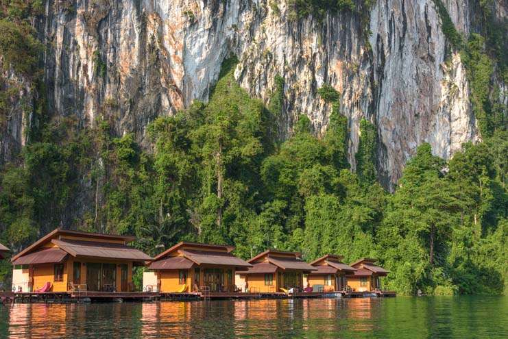 Greenery Panvaree Floating raft house Cheow Lan Lake Chiewlarn Lake Khao Sok National Park Thailand Family Zone