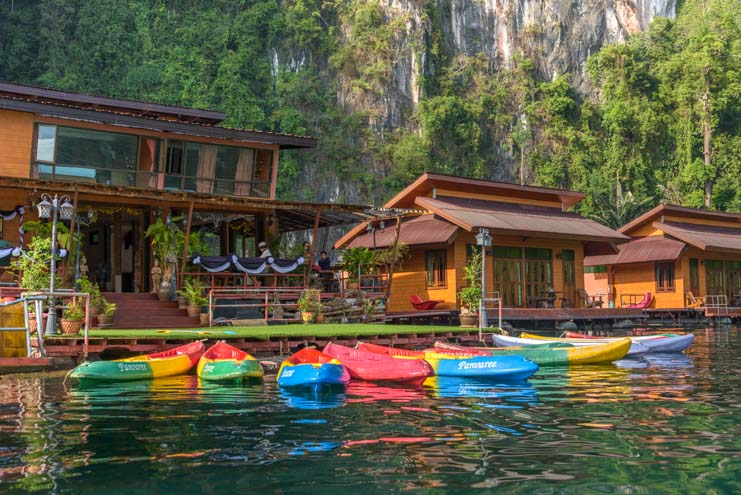 Kayaks at Greenery Panvaree Floating raft house Cheow Lan Lake Chiewlarn Lake Khao Sok National Park Thailand