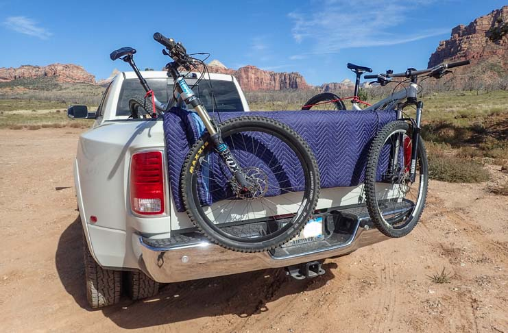 Mountain bikes on truck rather than a bike rack