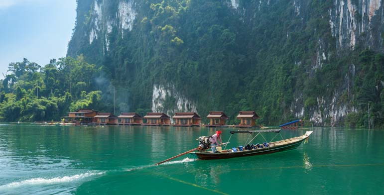Longtail boat Greenery Panvaree Resort Chiewlarn Lake Cheow Lan Lake Khao Sok National Park Thailand