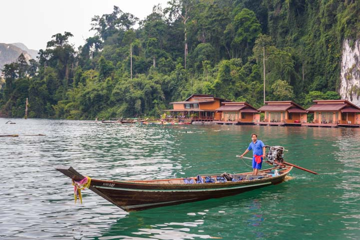 Longtail boat Greenery Panvaree Floating Raft House Cheow Lan Lake Khao Sok National Park Thailand