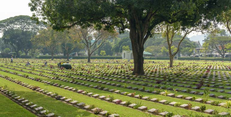 Gravestones of soldiers buried in Kanchanaburi Thailand